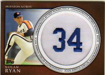 2012 Topps Retired Number Patches #NR Nolan Ryan S2