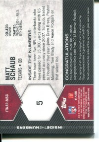 2012 Bowman Inside the Numbers Relic Autographs Patch #ITNARMSC Matt Schaub back image