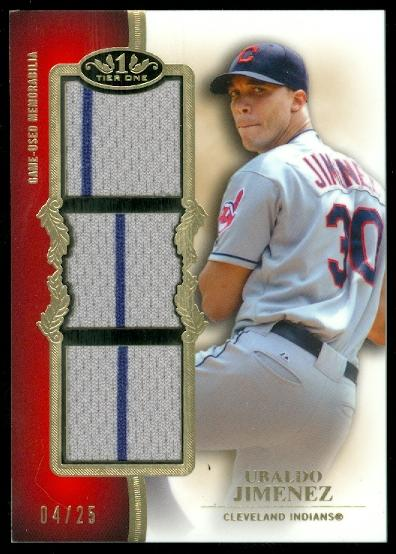 2012 Topps Tier One Triple Relics #UJ Ubaldo Jimenez