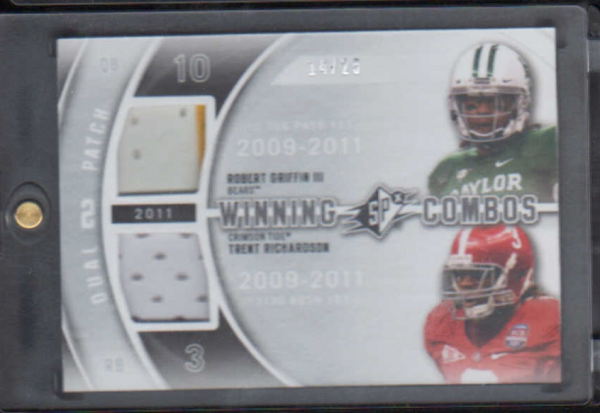2012 SPx Winning Combos Dual Jerseys Patch #WM210 Robert Griffin III/Trent Richardson