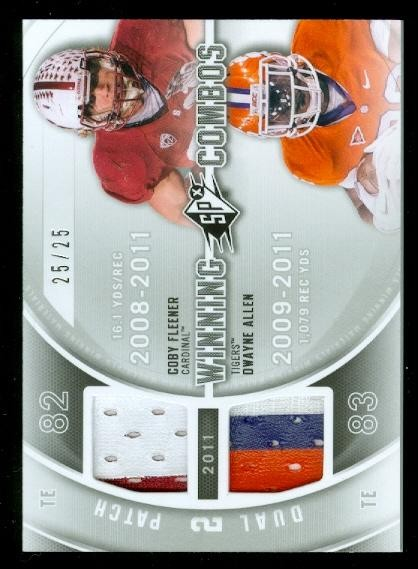 2012 SPx Winning Combos Dual Jerseys Patch #WM212 Coby Fleener/Dwayne Allen