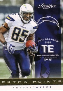 2012 Prestige Extra Points Gold #160 Antonio Gates