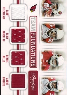 2012 Prestige Team Foundations Quad Materials #4 Larry Fitzgerald/249/Early Doucet III/Beanie Wells/Andre Roberts