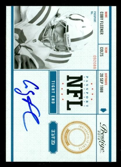 2012 Prestige NFL Passport Autographs #16 Coby Fleener