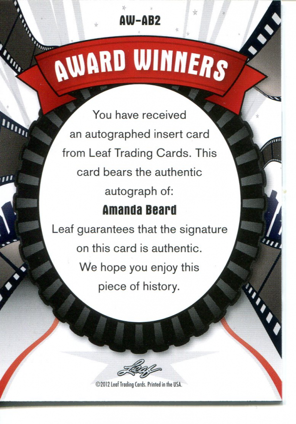 2012 Pop Century Award Winners Autographs #AWAB2 Amanda Beard back image
