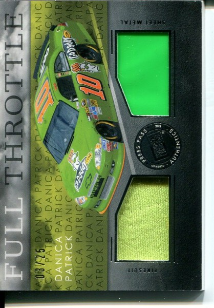 2012 Press Pass Redline Full Throttle Dual Relic Silver #FTDP Danica Patrick Cup/25