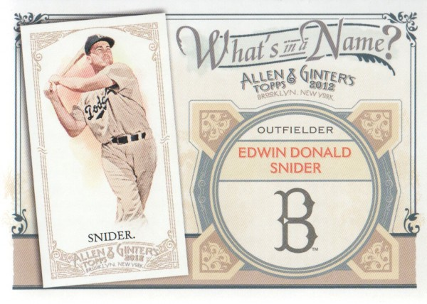 2012 Topps Allen and Ginter What's in a Name #WIN49 Edwin Donald Snider