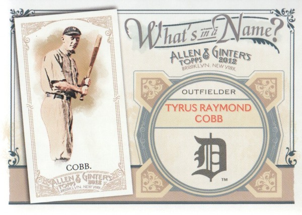 2012 Topps Allen and Ginter What's in a Name #WIN82 Tyrus Raymond Cobb