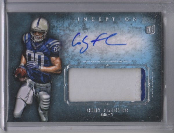 2012 Topps Inception Rookie Jumbo Patch Autographs #AJPCF Coby Fleener