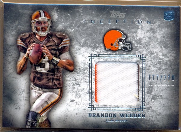 2012 Topps Inception Rookie Relics Patch #RPBW Brandon Weeden