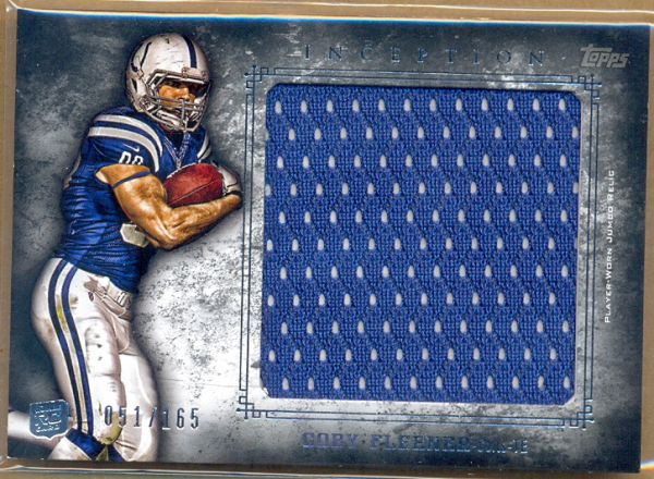 2012 Topps Inception Rookie Relics Jumbo Swatch #JRCF Coby Fleener/165
