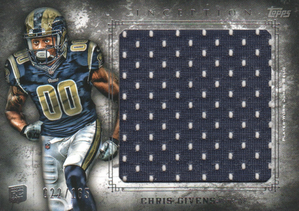 2012 Topps Inception Rookie Relics Jumbo Swatch #JRCGI Chris Givens/165