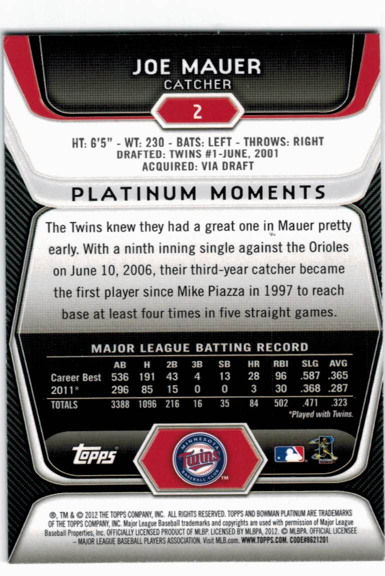 2012 Bowman Platinum #2 Joe Mauer back image
