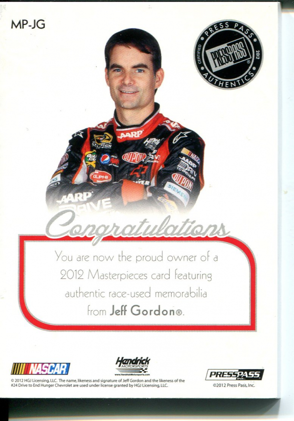 2012 Press Pass Showcase Masterpieces Memorabilia #MPJG Jeff Gordon/99 back image