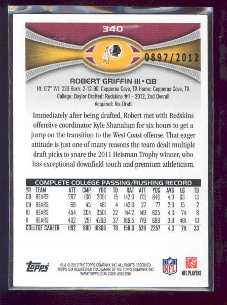 2012 Topps Gold #340 Robert Griffin III back image
