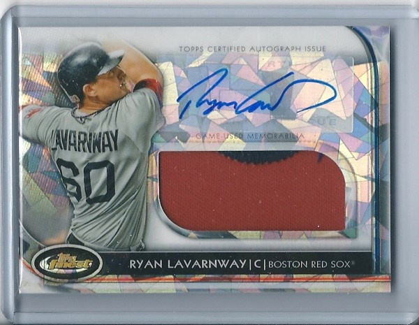 2012 Finest Rookie Jumbo Relic Autographs Atomic Refractors #RL Ryan Lavarnway
