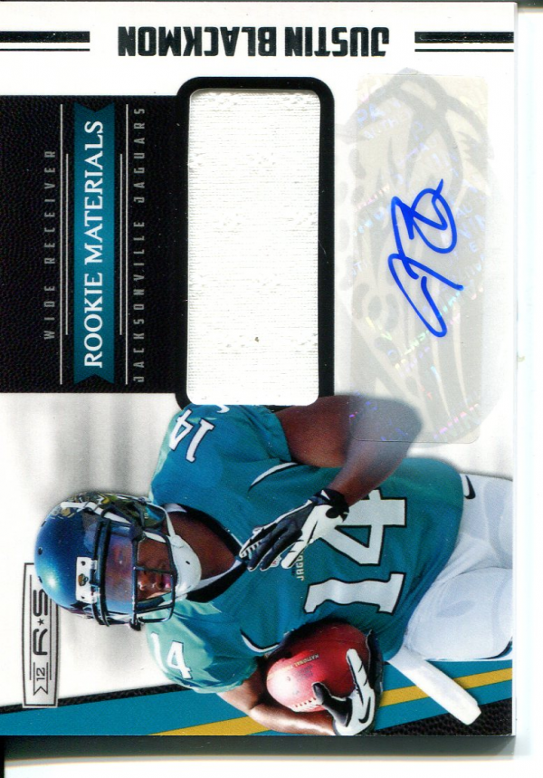 2012 Rookies and Stars #219 Justin Blackmon JSY AU RC