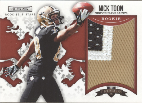 2012 Rookies and Stars Rookie Crusade Materials Prime Red #19 Nick Toon
