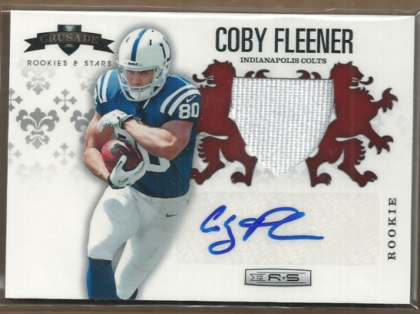 2012 Rookies and Stars Rookie Crusade Materials Autographs Red #15 Coby Fleener