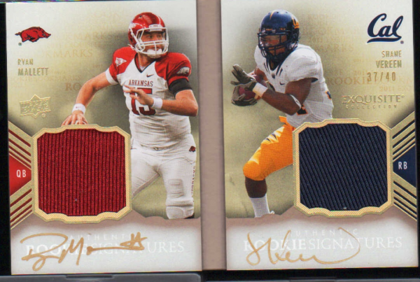 2011 Exquisite Collection Rookie Bookmark Jersey Autographs #RBMVM Shane Vereen/Ryan Mallett