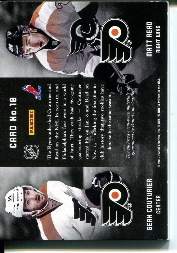 2011-12 Panini Prime Combos Jerseys Patch #10 Matt Read/25/Sean Couturier back image