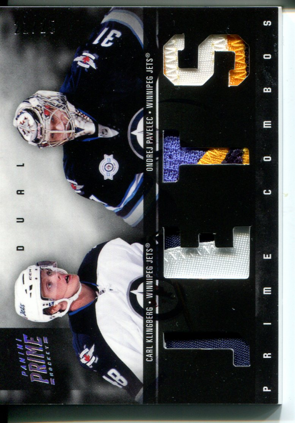 2011-12 Panini Prime Combos Jerseys Patch #46 Carl Klingberg/25/Ondrej Pavelec