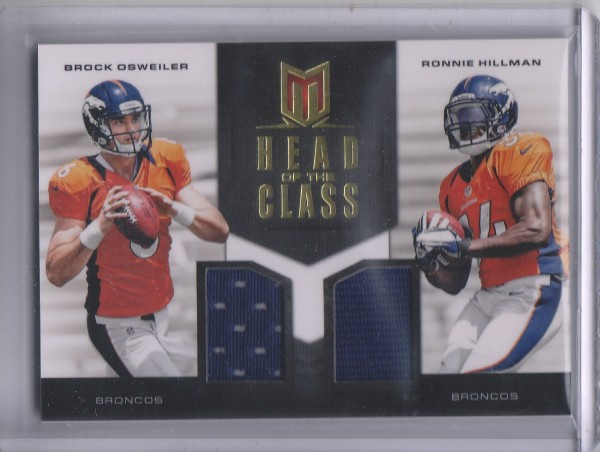2012 Momentum Head of the Class Materials Combo #12 Brock Osweiler/Ronnie Hillman