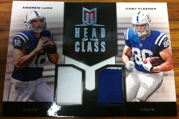 2012 Momentum Head of the Class Materials Combo Prime #10 Andrew Luck/Coby Fleener