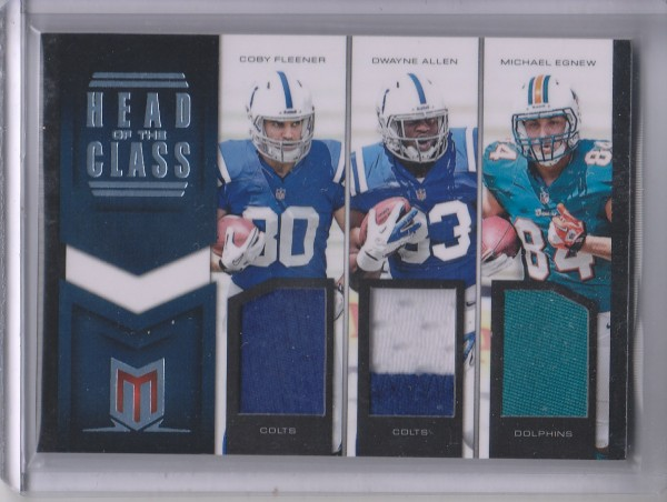 2012 Momentum Head of the Class Materials Triple Prime #8 Coby Fleener/Dwayne Allen/Michael Egnew
