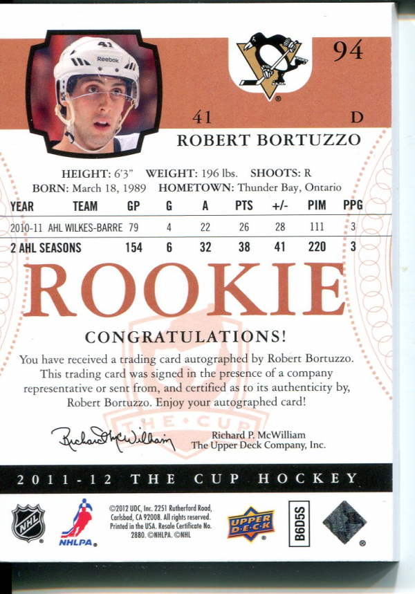 2011-12 The Cup #94 Robert Bortuzzo AU RC back image