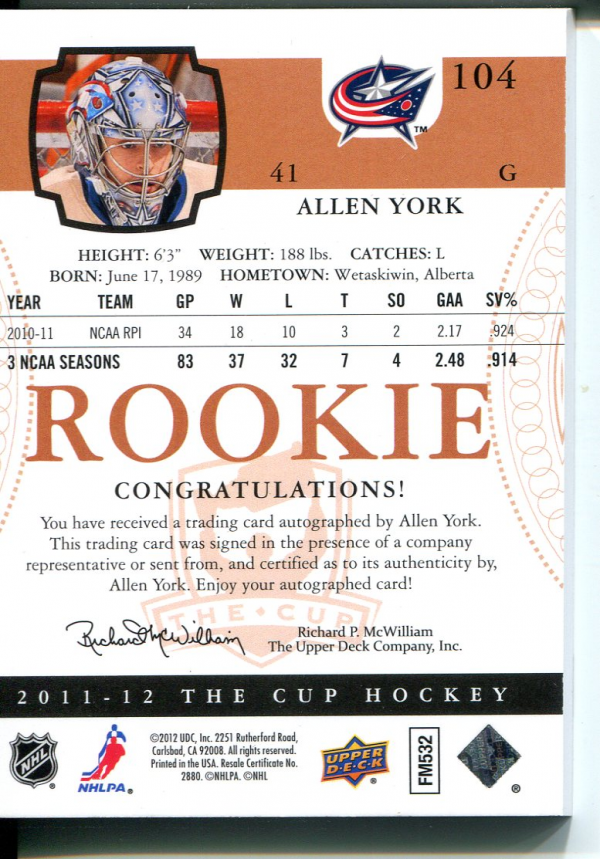 2011-12 The Cup Gold Rainbow #104 Allen York AU/41 back image