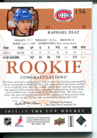 2011-12 The Cup Gold Rainbow #156 Raphael Diaz JSY AU/61 back image