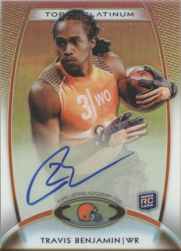 2012 Topps Platinum Rookie Autographs Refractors #166 Travis Benjamin