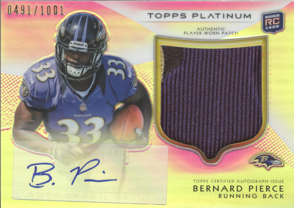 2012 Topps Platinum Rookie Patch Autographs Refractors #113 Bernard Pierce/1001