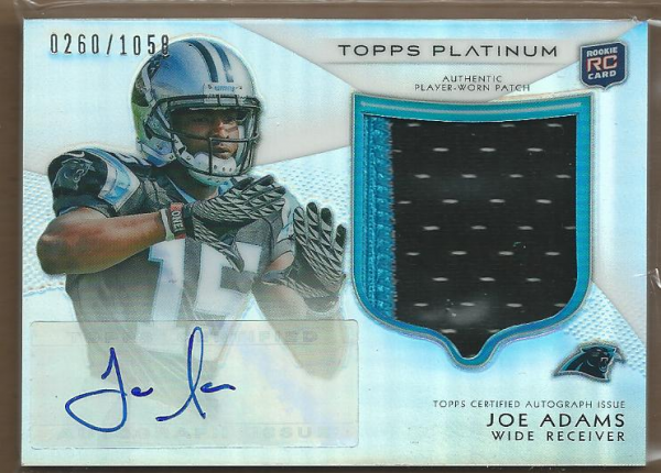 2012 Topps Platinum Rookie Patch Autographs Refractors #126 Joe Adams/1058