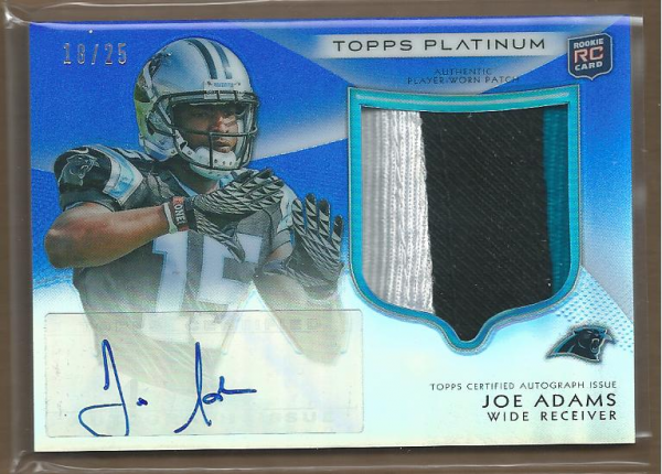 2012 Topps Platinum Rookie Patch Autographs Blue Refractors #126 Joe Adams