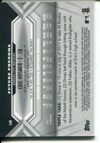 2012 Topps Triple Threads #149 Eric Hosmer Jsy AU back image
