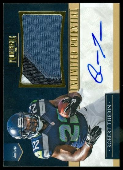 2012 Panini Prominence Unlimited Potential Materials Signatures Prime #4 Robert Turbin