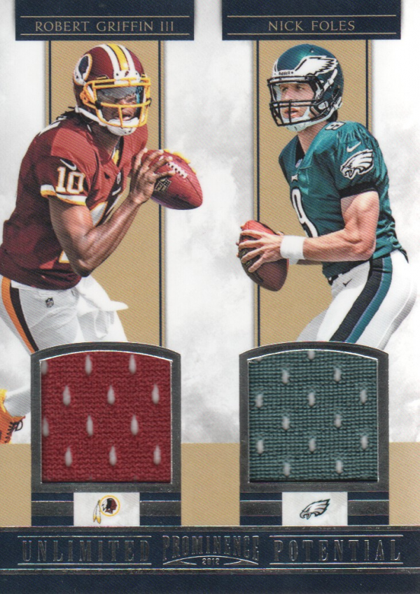 2012 Panini Prominence Unlimited Potential Materials Combos #6 Robert Griffin III/Nick Foles