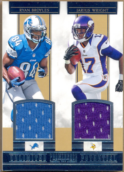 2012 Panini Prominence Unlimited Potential Materials Combos #13 Ryan Broyles/Jarius Wright