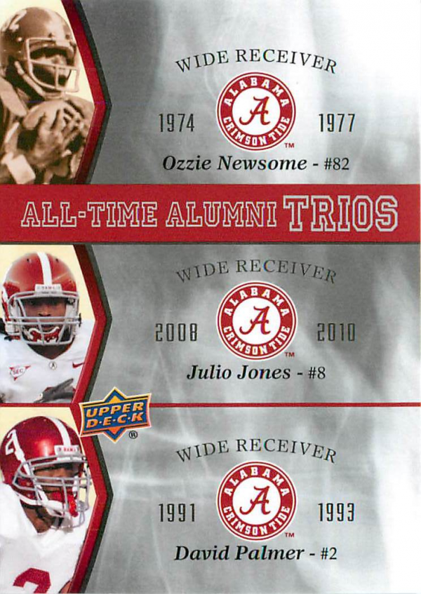 2012 Upper Deck Alabama All Time Alumni Trios #ATATNJP Ozzie Newsome/Julio Jones/David Palmer