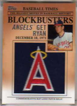 2012 Topps Update Blockbusters Commemorative Hat Logo Patch #BP9 Nolan Ryan