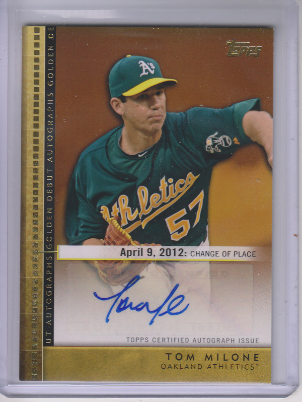 2012 Topps Update Golden Debut Autographs #TM Tom Milone