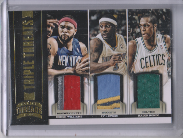 2012-13 Panini Threads Triple Threat Materials Prime #6 Ty Lawson/25/Rajon Rondo/Deron Williams