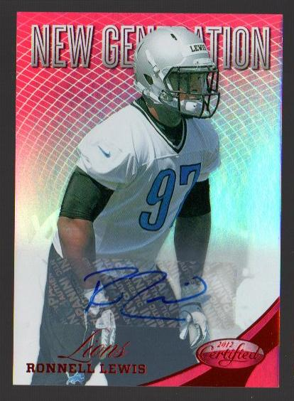 2012 Certified Mirror Red Signatures #301 Ronnell Lewis/350