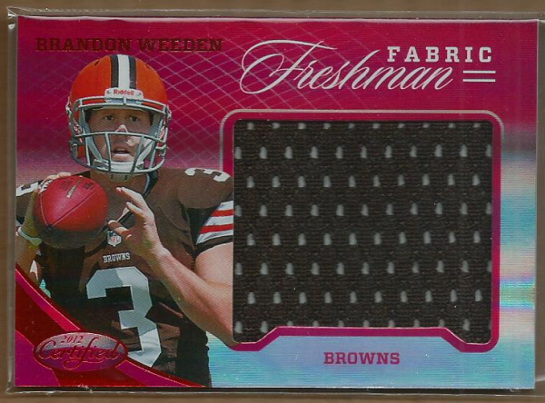 2012 Certified Mirror Red Materials #323 Brandon Weeden/149