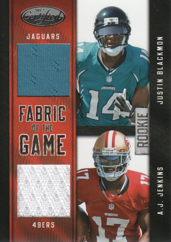 2012 Certified Rookie Fabric of the Game Combos #7 Justin Blackmon/A.J. Jenkins