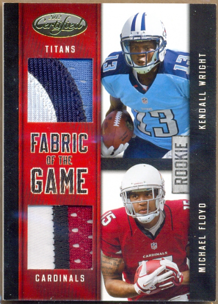 2012 Certified Rookie Fabric of the Game Combos Prime #8 Kendall Wright/Michael Floyd
