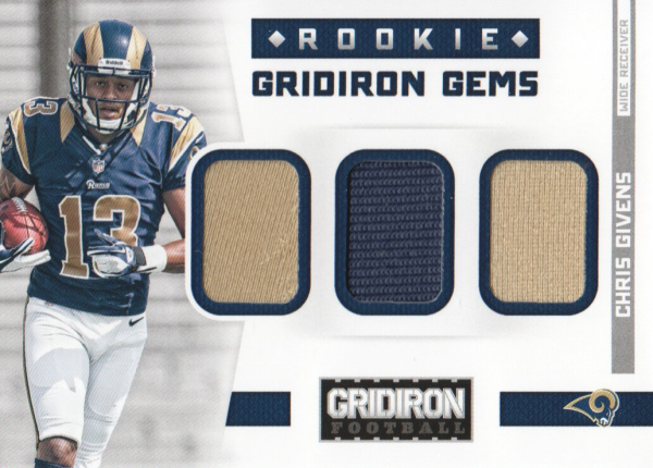 2012 Gridiron Rookie Gridiron Gems Jerseys Trios #12 Chris Givens/199