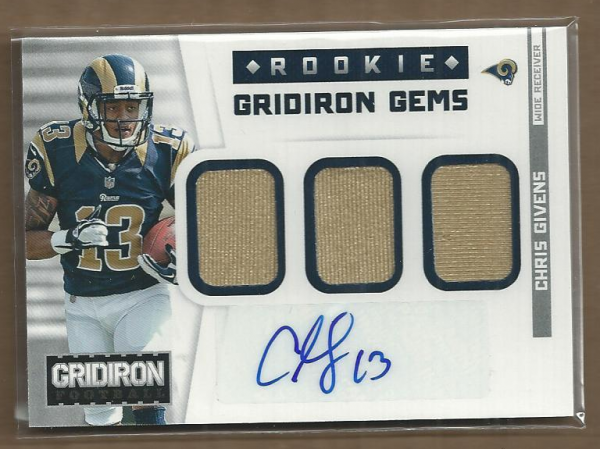 2012 Gridiron Rookie Gridiron Gems Jerseys Trios Autographs #13 Chris Givens/49